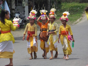 Young girls coming from their school to the festival.  They came as a group of about 20.
