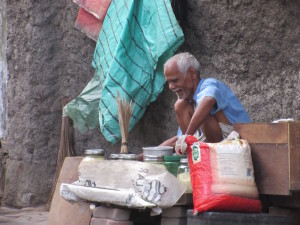 Man cooking soup for sale on the streets of Kolkata, near my hotel.