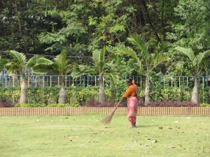 Woman sweeping up